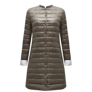 Image 2 - Ftlzz 울트라 라이트 오리 롱 자켓 여성 스프링 패딩 웜 코트 여성 자켓 오버 코트 겨울 코트 휴대용 파커