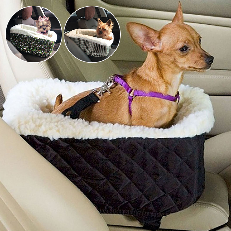 Universal Vehicle Armrest Box Pet Carrier Seat Nonslip Quilted  Pet Car Carrier For Dog Bags For Small Dogs Outdoor Travel