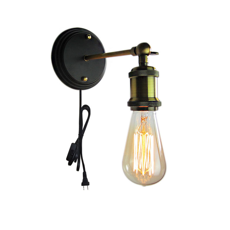 Retro Edison Bulb Wall Light With Plug E26 E27 Vintage Wall Lamp Simple Industrial Us Eu Plug Wall Mounted Lighting Fixture Led Indoor Wall Lamps Aliexpress