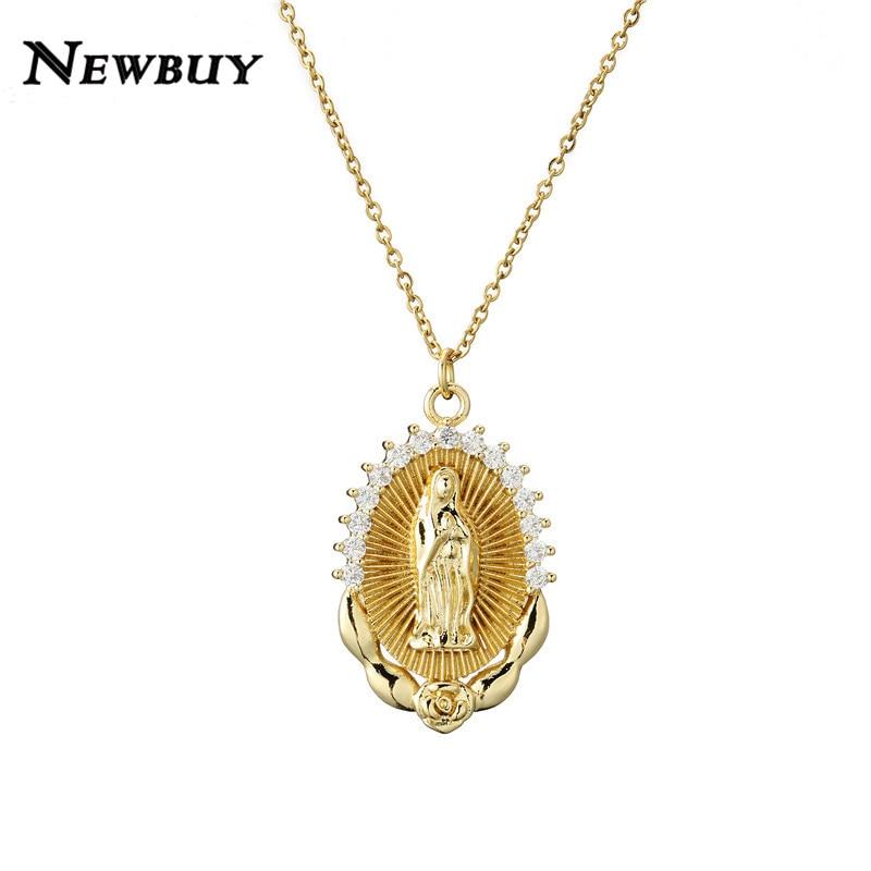 Diszipliniert Newbuy Klassische Christian Schmuck Gold/silber Link Kette Gesegnet Jungfrau Maria Anhänger Halskette Für Frauen Männer Aaa + Cz Bijoux