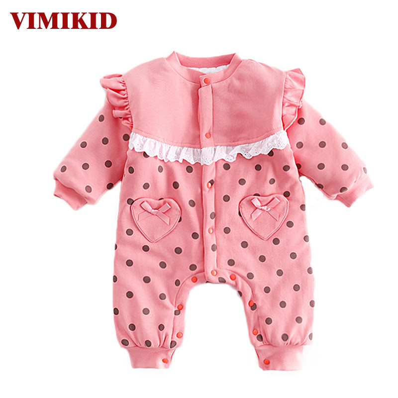 VIMIKID 2017 Baby Clothing Winter Thick Warm Jersey Pink Princess Cotton Romper for Toddler Baby Girls Children Clothes Kids Set 3pcs set winter baby sets cotton princess style baby girls clothes lace clothing soft warm clothes