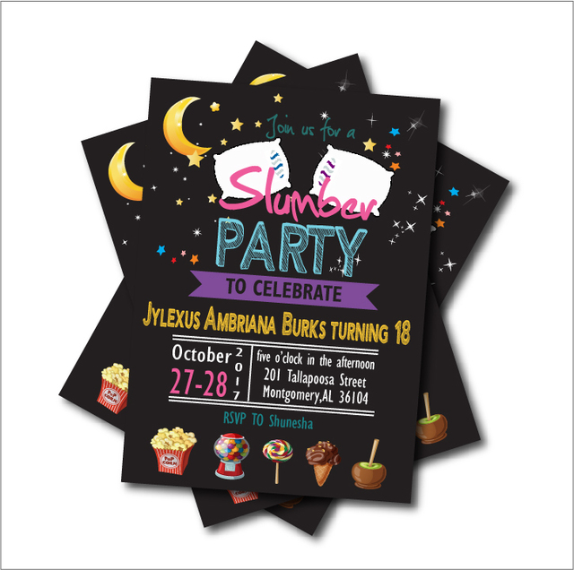 20 Pcs Lot Slumber Party Invitations Pajama Sleepover Invites Adult 18th Birthday Kids Baby Shower Decoration Suply