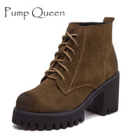 Vintage Style High Heel Women Ankle Boots Suede Genuine Leather Platform Shoes Thick Heels Lace Up