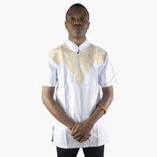 Muslim Mens Short Kaftan Tops Arabic Embroidery Attire T-shirt