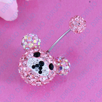 Very Flash Bear Body Piercing Belly Ring Beautiful Navel Ring 14G 316L Surgical Steel Nickel Free