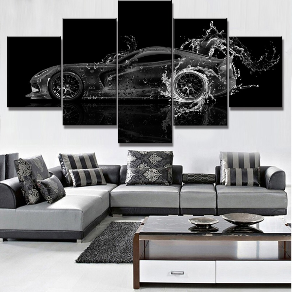 5 Piece Canvas Art Dodge Viper Water Car Poster Modern Decorative Paintings on Canvas Wall Art for Home Decorations Wall Decor in Painting Calligraphy from Home Garden