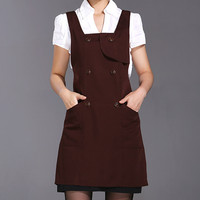 Brown Black Green Long Polyester Apron Barista Cafe Bistro Baker Waitress Catering Uniform Home Kitchen Cook