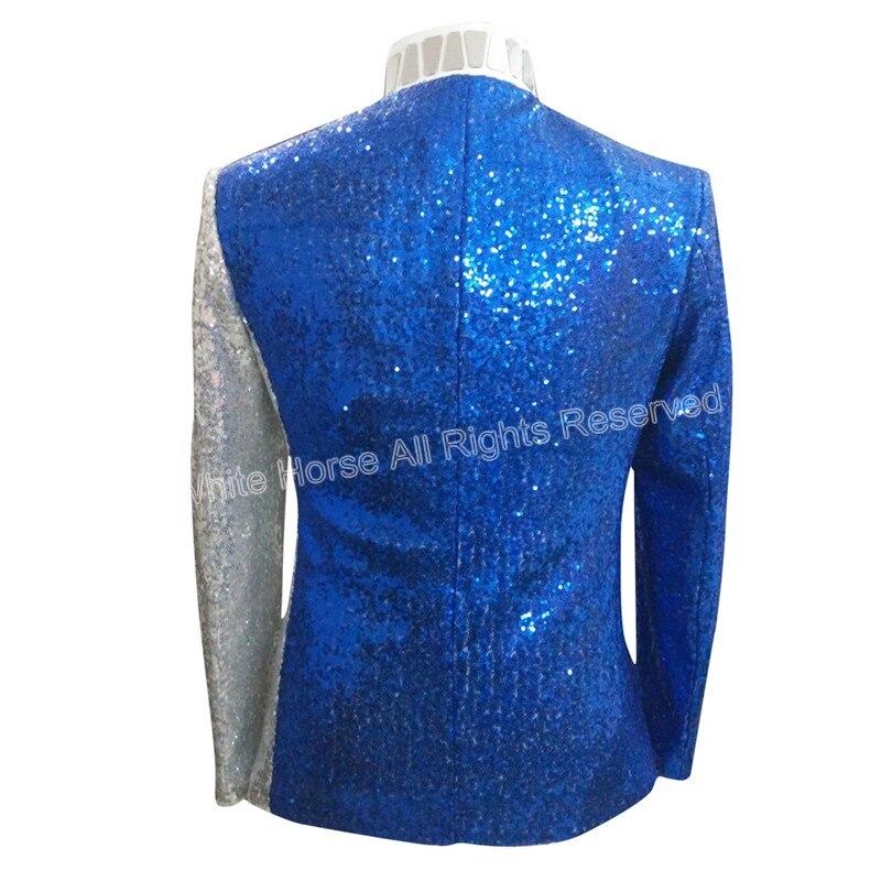 Heren Blazer Slim Fit Jacket Deluxe Heren Sequin Jacket Wit en Blauw - Herenkleding - Foto 4