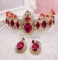Continental gran rojo barroco estilo hairbands tiara corona pendientes de la boda accesorios para el cabello al por mayor