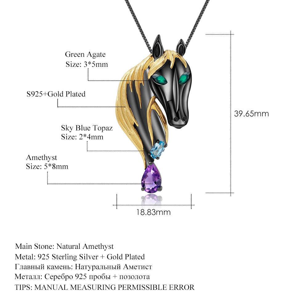 GEM'S балет натуральный аметист Небесно голубой топаз драгоценный камень ювелирные изделия 925 пробы серебро ручной работы лошадь кулон Брошь для женщин