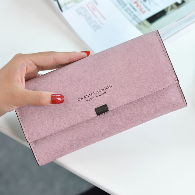 2019 Ladies Scrub Matte Leather Long Wallet