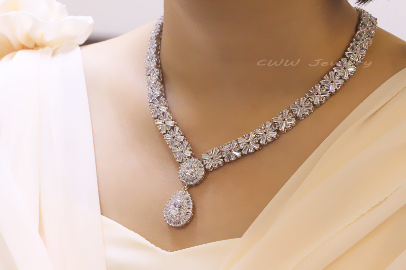 Cwwzircons Elegant Wedding Costume Jewelry Luxury Red Cubic Zirconia Bridal Crystal Necklace And Earrings Sets For T098 In From