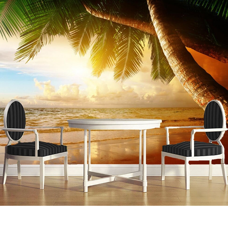 Custom 3D photo wallpaper, sunset beach palm scenery for the living room bedroom TV background wall waterproof papel de parede custom 3d mural wallpaper european style painting stereoscopic relief jade living room tv backdrop bedroom photo wall paper 3d
