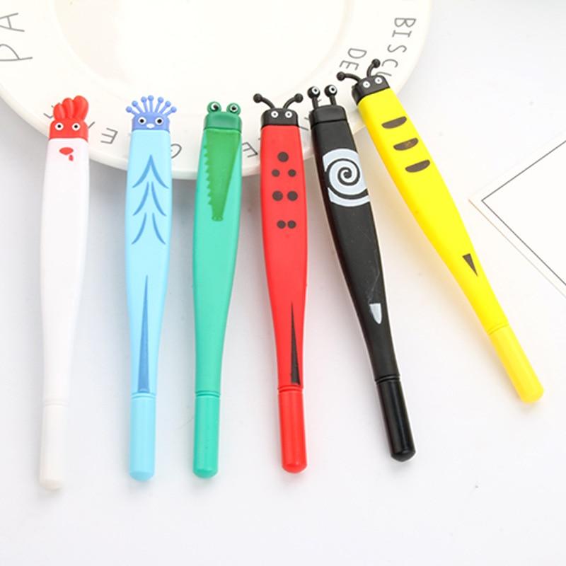 1 Pcs 0.5mm Cute Animal Modeling Gel Pen Frog Insect Cartoon Kawaii School Supplies Student Stationery Black Ink Pen