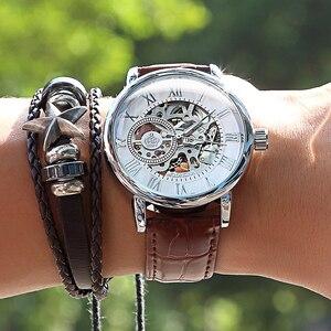 Image 1 - 2020 חדש מותג MG ORKINA שעוני גברים שעונים רצועת עור מכאני שעוני יד כסף שלד חלולה שקופה עיצוב