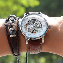 2020 New Brand MG ORKINA Clocks Men Watches Leather Strap Mechanical Wristwatch Silver Skeleton Watch Transparent Hollow Design