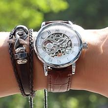 2020 新ブランド mg orkina 時計男性腕時計革ストラップ機械式腕時計シルバースケルトン透明中空デザイン