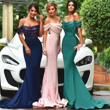 Off The Shoulder Long Pink Bridesmaid Dress Sequins Blue Green Mermaid Discount Formal Bridesmaids Gown Custom Made  TB1370