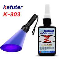 6 zweite 50ml Kafuter Uv-kleber Uv-härtung Klebstoff K-303 + 51LED UV Taschenlampe Uv-härtung Klebstoff Kristall Glas und Metall Bindung
