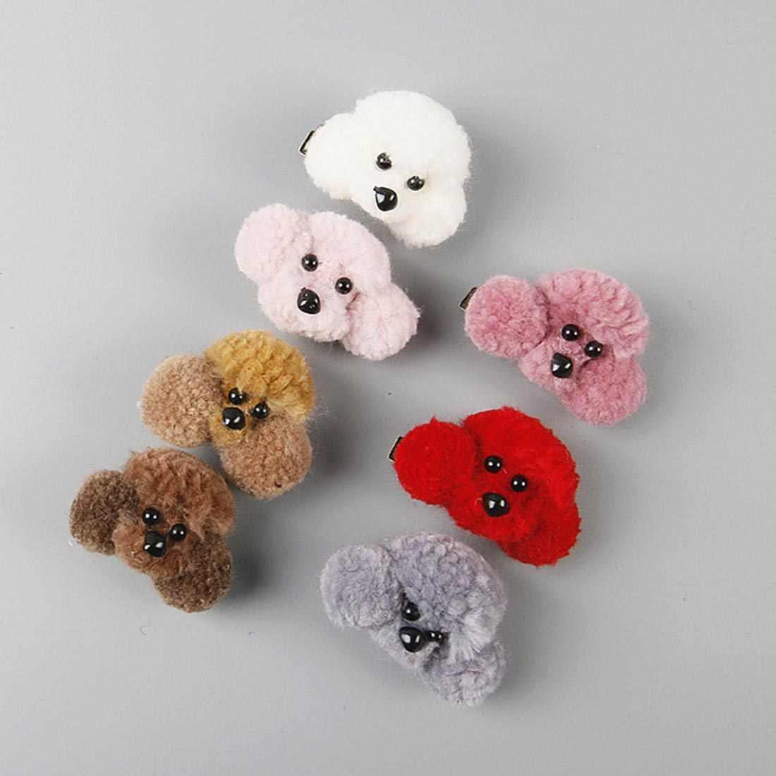 Hot Sale 1 PC Criativo 3D Cachorro de Brinquedo de Pelúcia BB Clipes Grampos de Cabelo Para O Bebê Meninas Bonito Dos Desenhos Animados Coreano Cabelo corda Acessórios Para o Cabelo