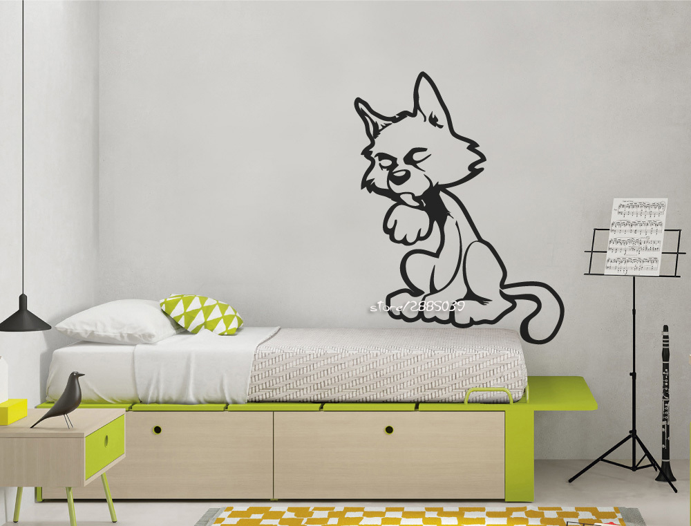 Cartoon Cat Vinyl Wall Stickers Removable Wall Art Decal Etiqueta pated vinilo Wallpaper High Quality Wall Decoration SA655