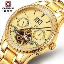 2016 Carnaval de diamante completo de acero reloj mecánico automático sapphire lujo famosa marca de relojes relogio masculino luminosa resistente al agua