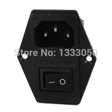 IEC320 C14 250 В 15A черный кулисный переключатель 3 штифта Входная вилка розетка
