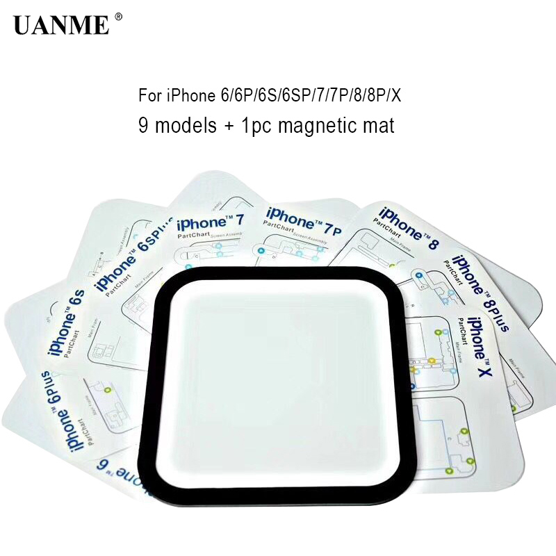 UANME 9in1 Magnetic Screw Mat for iPhone 6/6S/6P/6SP/7/7P/8/8P/X Professional Guide Pad Mobile Phone Repair Tools Hand Tool Set