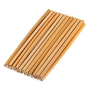 4Pcs/Set Bamboo Straw Reusable Straw 23cm Organic Bamboo Drinking Straws Natural Wood Straws For Party Birthday Wedding Bar Tool