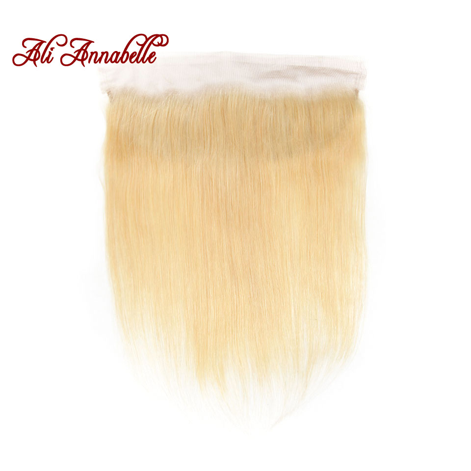 Brazilian Human Hair Straight 13*4 Lace Frontal Closure with Baby Hair 613 Blonde 100% Human Hair Free/Middle Part Closure Remy image