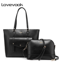 LOVEVOOK brand fashion female shoulder bags large capacity handbag zipper composite bag for women 2017 totes purple/black/green