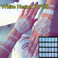 8pcs/lot White Henna Tattoo Temporary Henna Tattoo Luxuriant Sexy Jewelry & Body Tattoo Unique Designs Wedding Henna
