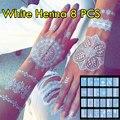 8 pçs/lote Branco Tatuagem de Henna Henna Tatuagem Temporária Sexy Luxuriante Jóias & Body Tattoo! Projetos originais Do Casamento Henna