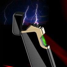 New Laser USB Lighter Rechargeable Double Arc Lighters Creative Gravity Sensor Electronic Touch Cigarette Cigar Lighter mecheros