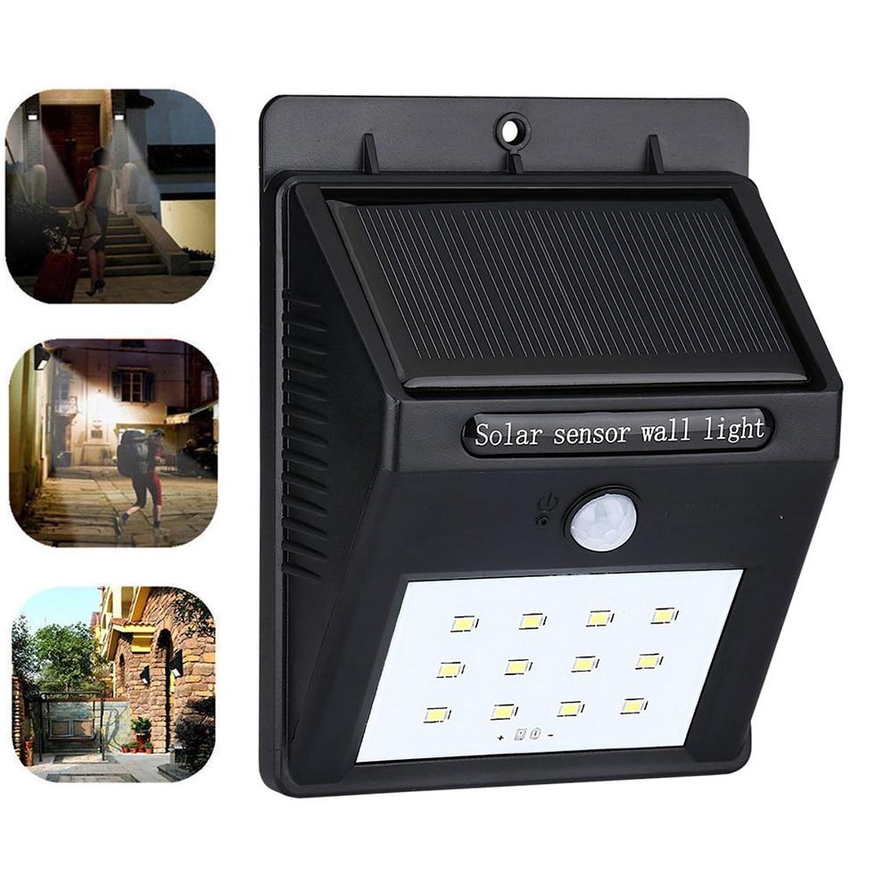 1PCS 12 Leds Outdoor Solar Light Solar Power Panel Wall Lamp PIR Human Solar Motion Sensor
