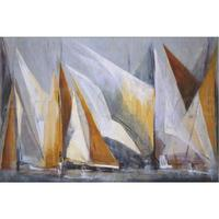Sailboat Abstract Paintings OCEAN REGATTA Oil Painting On Canvas Seascape Modern Art For Wall Decor Hand