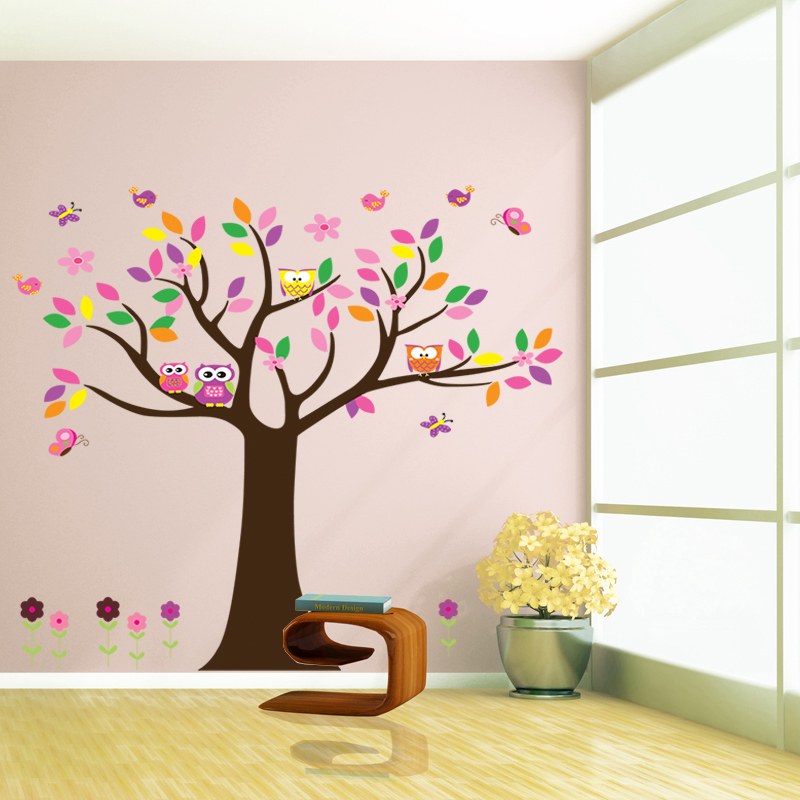 beautiful colorfull tree wall decal for home decor decorative removable Living Room Bedroom Background Decoration Stickers