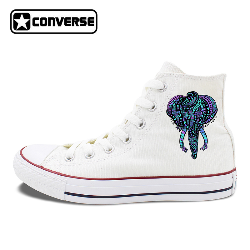 Original Design Totem Elephant Shoes High Top Lace Up Converse Canvas Sneakers Men Women Chucks Taylor Skateboarding Shoe original converse women s high top skateboarding shoes sneakers