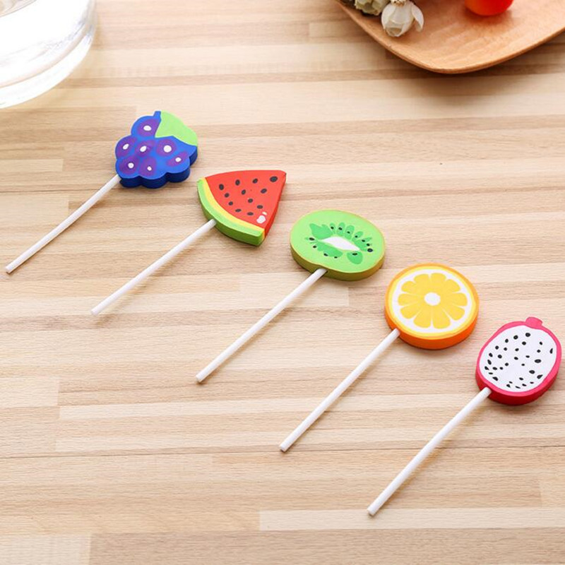 1pc/lot Kawaii Stationery Lovable Fruit Lollipop Eraser Cartoon Adorable Toys Primary Office School Prizes Funny