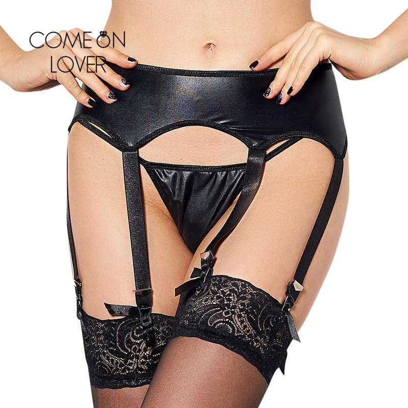 Comeonlover Womens Black Faux Leather Latex Garter Belt Suspender Set With Underwear Panty Plus Size XXXL Garter Belt PI5113