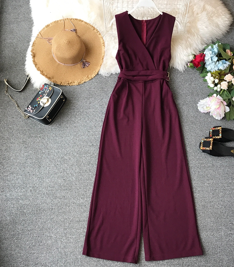 ALPHALMODA 2019 Spring Ladies Sleeveless Solid Jumpsuits V-neck High Waist Sashes Women Casual Wide Leg Rompers 68
