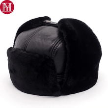 2018 New Men 100 Natural Real Sheepskin Leather Bomber Hats Male Casual Winter Warm Sheepskin Leather Cap Hot Russia Adult Caps cheap Solid YH-07275 100 real genuine sheepskin leather