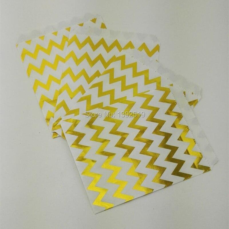 50pcs Foil Gold Candy Bags In Chevron
