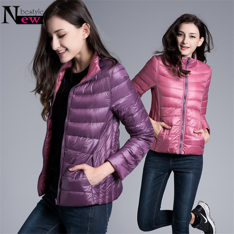 Newbestyle Winter Womens Casual Two Side Colors White Duck Down Jacket Women Warm Winter Coats Parkas Lightweight Down Jackets