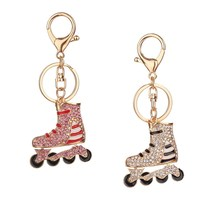 1Pcs Latest Lovely Roller Skates Shoe Crystal Rhinestone Leather Keychain Handbag Men Women Car Llaveros Pendant Gift(China)
