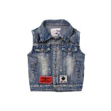 Children's Denim Vest Baby Boy Girl Sleeveless Jean Jackets For Kids Stone Washed Destroyed Chaleco Streetwear Kids Waistcoats