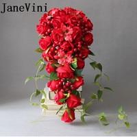 JaneVini 2018 Zijde Rode Waterval Bruidsboeketten voor Bruiloft Handgemaakte Rose Bloemen Bruidsboeketten Cascading Boeket De Mariage