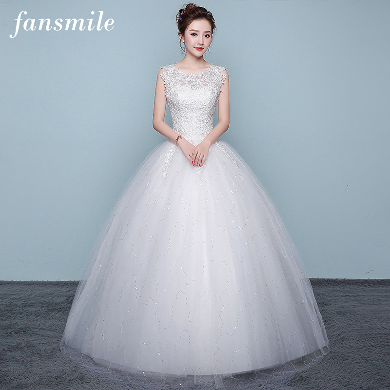 Fansmile 2019 Tulle Mariage Vestido De Noiva Lace Ball Wedding Dress Custom-made Plus Size Bridal Gown Free Shipping FSM-421F