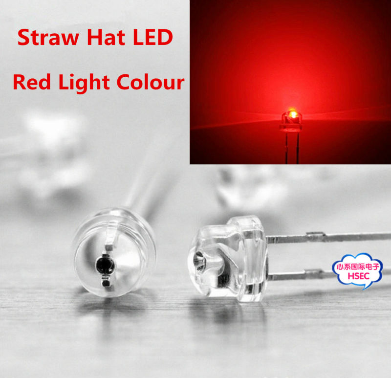 8mm Straw Hat Led: Free Shipping 1000pcs 5mm (4.8mm) Straw Hat LED Red Light