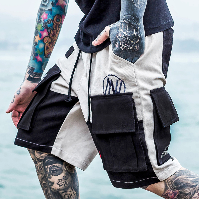 New Trend Man Short Pants  Men Streetwear Cargo Shorts Pants Mens Hip Hop Casual Multi-pocket Shorts Male Loose Letter Shorts